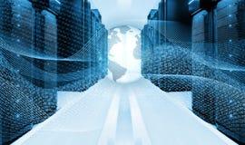 Begreppet av globala kommunikationer, informationsteknik, datorhaller, serveror kraftledningar med binär kod på Royaltyfria Foton