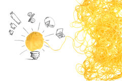 Begreppet av idén och innovation med ull klumpa ihop sig arkivfoton