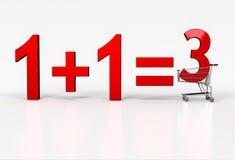 Begreppet av köp två - få på fritt Stort rött tecken av 1+1=3 i shopp Royaltyfria Bilder
