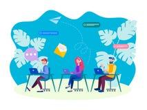 Begreppet av kommunikationen, online-hjälp, heta linjen som mottar appeller i kontoret, turnerar skrivbordet, appellmitt royaltyfri illustrationer