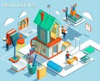 Begreppet av läseböcker och att lära i arkivet Isometrisk plan design vektor Arkivbilder
