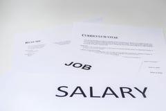 Begreppet av lönen är nödvändigt för meritförteckning royaltyfri fotografi
