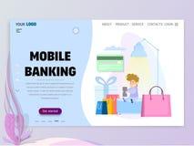 Begreppet av mobila bankrörelsen, homepage-mall för website eller landningsida royaltyfri illustrationer