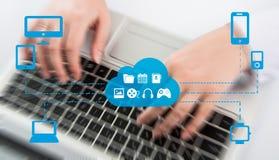 Begreppet av Omnichannel mellan apparater som förbättrar kapaciteten av företaget Innovativa lösningar i affär Arkivfoto