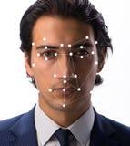 Begreppet av programvara och maskinvara för framsidaerkännande royaltyfria bilder