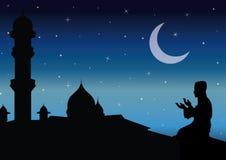 Begreppet av religionen är islam Kontur av mannen som ber och moskén, vektorillustrationer vektor illustrationer
