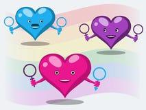 Begreppet av sexuella minoriteter och naturals i form av gladlynta hjärtor med symboler av män och kvinnor mot bakgrunden stock illustrationer