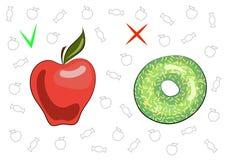 Begreppet av sund och skadlig mat Saftigt smakligt äpple och söt munk Fördelarna och skadan av mat Frukt och royaltyfri illustrationer