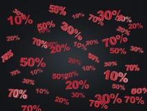 Begreppet av svarten fredag, rabatten och försäljningen Samlingen av rabatten numrerar 10% 20% 30% 50% 70% Arkivbild