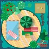Begreppet av vilar i trädgården Arkivbilder