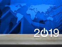Begreppet 2019, beståndsdelar för det lyckliga nya året av denna bild möblerade vid NASA royaltyfri illustrationer