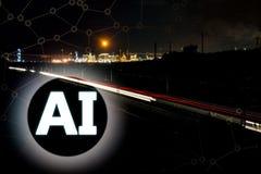 Begreppet för AI eller för konstgjord intelligens med drevljus skuggar och den industriella fabriken arkivfoton