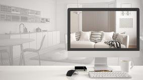 Begreppet för arkitekthusprojektet, skrivbords- dator på det vita arbetsskrivbordet som visar modern vardagsrum, CAD skissar inre Royaltyfri Bild