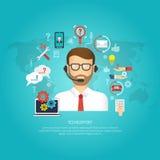begreppet för bakgrund 3d isolerade framförd vit servicetech stock illustrationer
