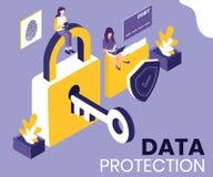 Begreppet för dataskydd förklarade med hjälpen av det isometriska konstverkbegreppet royaltyfri illustrationer