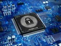 Begreppet för datorsäkerhet - låsa på datormikroprocessorchip Royaltyfria Bilder