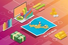 Begreppet för det Ho Chi Minh City beskriver det isometriska finansiella ekonomivillkoret för stadstillväxt för att utvidga - vek vektor illustrationer