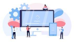 Begreppet för illustrationen för systemuppdateringvektorn, system för folkuppdateringoperation kan använda för och att landa sida royaltyfri illustrationer