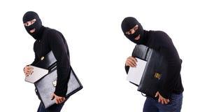 Begreppet för industriellt spionage med personen i balaclava Arkivfoto