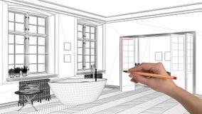 Begreppet för inredesignprojektet, beställnings- arkitektur för handteckning, svartvitt färgpulver skissar, gör en skiss av visni royaltyfria bilder