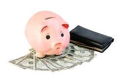 begreppet för klockan för ackumulationsalarmbakgrund isolerade pengarwhite Isolerade pengar och spargris Fotografering för Bildbyråer