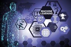 Begreppet för lära för maskin det beräknande av modernt det teknologi royaltyfria foton