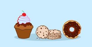 Begreppet för mat för efterrätten för sötsaken för kakor för chipen för munkmuffinkakan skissar det olika nytt bakade horisontal stock illustrationer
