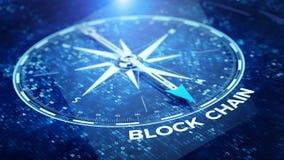 Begreppet för nätverket för kvarterkedjan - omringa visaren som pekar det Blockchain ordet royaltyfri illustrationer