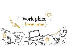 Begreppet för skrivbordet för arbetsplatsen för bärbara datorn för affärsarbetsskrivbordet skissar klotterhorisontalisolerat kopi stock illustrationer