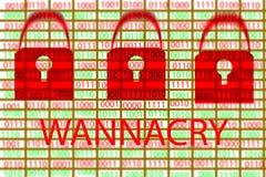 Begreppet för wannacry och binär kod på den skrivbords- skärmen _ Arkivfoto