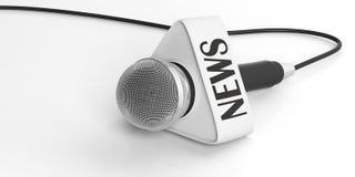begreppet märker många nyheterna det paper ordet Mikrofon med nyheternaasken som isoleras på vit bakgrund illustration 3d Royaltyfri Bild