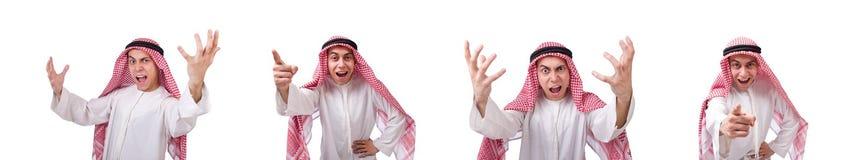 Begreppet med den arabiska mannen som isoleras p? vit royaltyfri foto