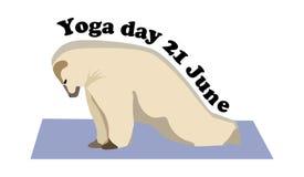Begreppet på den internationella yogadagen på Juni 21, björnen kopplar in i yoga stock illustrationer