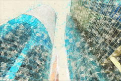 Begreppet skissar modernt exponeringsglas för skyskrapafasadkontorsbyggnader Royaltyfria Bilder