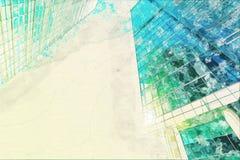 Begreppet skissar modernt exponeringsglas för skyskrapafasadkontorsbyggnader Royaltyfri Bild