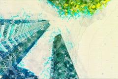 Begreppet skissar modernt exponeringsglas för skyskrapafasadkontorsbyggnader Arkivbild