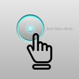 begreppet sparar vatten räddningvattenknapp Arkivbild