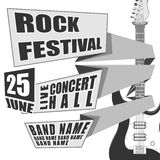 Begreppet vaggar festivalhändelsedesignen för reklambladet, affischen, inbjudan elektrisk gitarr för illustration på baksida Royaltyfri Fotografi