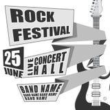 Begreppet vaggar festivalhändelsedesignen för reklambladet, affischen, inbjudan Elektrisk gitarr för vektorillustration på baksid Royaltyfria Bilder
