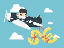 Begreppsaffärsmannen som flyger en nivå, har pengar, dollaren och euro Royaltyfri Bild