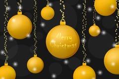 Begreppsbakgrund för Xmas och för nytt år Guld- julbollar på glänsande svart bakgrund royaltyfri illustrationer