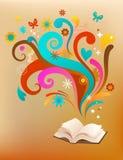 Begreppsbakgrund med en bok och designelement Royaltyfri Fotografi
