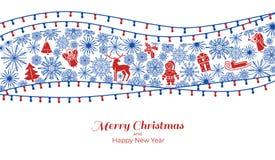 Begreppsbaner för glad Xmas och för lyckligt nytt år, enkel stil vektor illustrationer