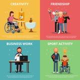 Begreppsbilder av rehabilitering för rörelsehindrat folk Mänskligt kamratskap Färgrik cirkel royaltyfri illustrationer