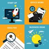 Begreppsbilder med olika affärsbeståndsdelar Startup symboler och kommersiellt undertecknar in plan stil vektor illustrationer