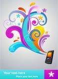 Begreppsbroschyr med en mobil telefon stock illustrationer