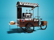 Begreppscykeln, coffee shop på hjul 3d framför på blå bakgrund med skugga stock illustrationer