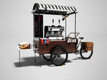 Begreppscykeln, coffee shop på hjul 3d framför på grå bakgrund royaltyfri illustrationer