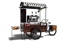 Begreppscykeln, coffee shop på hjul 3d framför på vit backgroun royaltyfri illustrationer