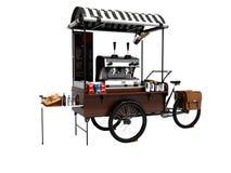 Begreppscykeln, coffee shop på hjul 3d framför på vit backgroun stock illustrationer
